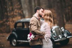 Μοντέρνο αγαπώντας γαμήλιο ζεύγος που φιλά και που αγκαλιάζει σε ένα δάσος πεύκων κοντά στο αναδρομικό αυτοκίνητο Στοκ φωτογραφία με δικαίωμα ελεύθερης χρήσης