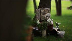 Μοντέρνο γαμήλιο ντεκόρ για την οργάνωση του πυροβολισμού απόθεμα βίντεο
