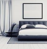 Μοντέρνο γκρίζο και άσπρο εσωτερικό κρεβατοκάμαρων ελεύθερη απεικόνιση δικαιώματος
