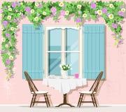 Μοντέρνο εξωτερικό καφέδων οδών της Προβηγκίας: παράθυρο, πίνακας και καρέκλες επίσης corel σύρετε το διάνυσμα απεικόνισης διανυσματική απεικόνιση