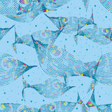 Μοντέρνο ζωηρόχρωμο μπλε άνευ ραφής σχέδιο γραμμών ψαριών απεικόνιση αποθεμάτων