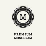 Μοντέρνο και χαριτωμένο floral σχέδιο μονογραμμάτων, κομψό λογότυπο τέχνης γραμμών, διανυσματικό πρότυπο Στοκ εικόνα με δικαίωμα ελεύθερης χρήσης
