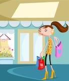 Μοντέρνο κορίτσι με την τσάντα αγορών απεικόνιση αποθεμάτων