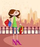Μοντέρνο κορίτσι με την τσάντα αγορών διανυσματική απεικόνιση