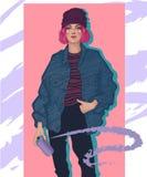 μοντέρνο κορίτσι με το χρώμα ψεκασμού στοκ φωτογραφία με δικαίωμα ελεύθερης χρήσης