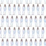 Μοντέρνο κορίτσι στο μπλε μετάξι pantsuit στο άσπρο άνευ ραφής watercolor υποβάθρου ελεύθερη απεικόνιση δικαιώματος