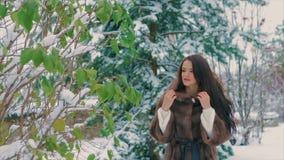 Μοντέρνο κορίτσι Brunette κοντά στα πράσινα δέντρα το χειμώνα, στο καφετί παλτό γουνών σε αργή κίνηση απόθεμα βίντεο