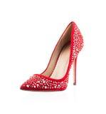 Μοντέρνο κόκκινο παπούτσι γυναικών Στοκ Φωτογραφίες