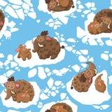 Μοντέρνο παιδαριώδες άνευ ραφής σχέδιο με τα μαμούθ μέσα Στοκ Εικόνες