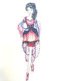 μοντέρνο σκίτσο φορεμάτων Στοκ Εικόνες