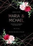 Μοντέρνο σκοτεινό γεωμετρικό πλαίσιο γαμήλιου διανυσματικό σχεδίου με τα λουλούδια διανυσματική απεικόνιση