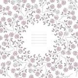 Μοντέρνο στρογγυλό πλαίσιο με τα τριαντάφυλλα και τα φύλλα στην άσπρη πλάτη Στοκ εικόνα με δικαίωμα ελεύθερης χρήσης