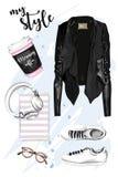 Μοντέρνο συρμένο χέρι σύνολο με το σακάκι δέρματος, παπούτσια, eyeglasses, ακουστικά, βιβλίο αρμόδιων για το σχεδιασμό απεικόνιση αποθεμάτων