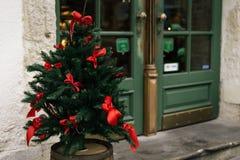 Μοντέρνο φυσικό πράσινο χριστουγεννιάτικο δέντρο με τα κόκκινα τόξα, εορτασμός Στοκ εικόνες με δικαίωμα ελεύθερης χρήσης