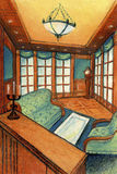 Μοντέρνο δωμάτιο με το φυσικό ξύλο που συνδυάζεται με τα πράσινα κλωστοϋφαντουργικά προϊόντα Η επιλογή ενός ρολογιού παππούδων ελεύθερη απεικόνιση δικαιώματος