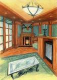 Μοντέρνο δωμάτιο με το φυσικό ξύλο που συνδυάζεται με τα πράσινα κλωστοϋφαντουργικά προϊόντα Επιλογή με την εστία απεικόνιση αποθεμάτων