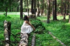 Μοντέρνο όμορφο εθνικό κορίτσι brunette στο άσπρο φόρεμα στο δάσος Στοκ Φωτογραφία