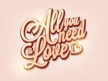 Μοντέρνο όλο κειμένων που χρειάζεστε είναι αγάπη για την ημέρα του βαλεντίνου Στοκ Εικόνα