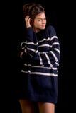 Μοντέλο μόδας στο Μαύρο Στοκ φωτογραφίες με δικαίωμα ελεύθερης χρήσης