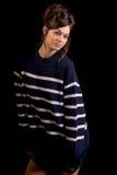 Μοντέλο μόδας στο Μαύρο Στοκ εικόνα με δικαίωμα ελεύθερης χρήσης
