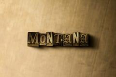 ΜΟΝΤΑΝΑ - κινηματογράφηση σε πρώτο πλάνο της βρώμικης στοιχειοθετημένης τρύγος λέξης στο σκηνικό μετάλλων Στοκ Εικόνες