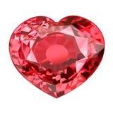 Μονωμένη κόκκινη πέτρα πολύτιμων λίθων στη μορφή της καρδιάς στο άσπρο υπόβαθρο Στοκ εικόνες με δικαίωμα ελεύθερης χρήσης
