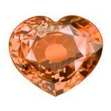 Μονωμένη πέτρα πολύτιμων λίθων στη μορφή της καρδιάς στο άσπρο υπόβαθρο Στοκ Εικόνες
