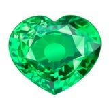 Μονωμένη πράσινη πέτρα πολύτιμων λίθων στη μορφή της καρδιάς στο άσπρο υπόβαθρο Στοκ Εικόνα