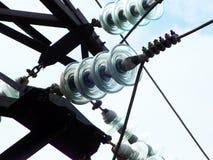 Μονωτές γυαλιού στον ηλεκτρικό πόλο Στοκ Εικόνα