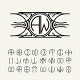 Μονόγραμμα, μια ετικέτα nouveau τέχνης με δύο επιστολές που εγγράφονται στον κύκλο Ένα σύνολο αλφάβητου για να ταιριάξει σε έναν  στοκ φωτογραφία με δικαίωμα ελεύθερης χρήσης