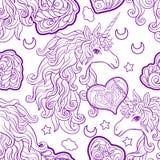 Μονόκερος με τον πολύχρωμο Μάιν, το ουράνιο τόξο πεταλούδων, το αστέρι και την αγάπη διανυσματική απεικόνιση
