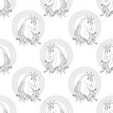 Μονόκερος με το άνευ ραφής σχέδιο ουράνιων τόξων Στοκ Εικόνα