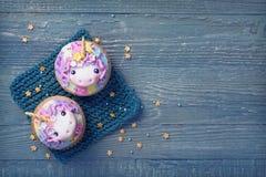 Μονόκερος cupcakes Στοκ φωτογραφία με δικαίωμα ελεύθερης χρήσης