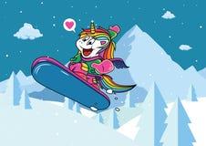 Μονόκερος Snowboarding στο χιόνι με το μεγάλο χαμόγελο απεικόνιση αποθεμάτων