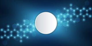 Μοριακή δομή και χημικά στοιχεία αφηρημένα μόρια ανασκόπησης Επιστήμη και ψηφιακή έννοια τεχνολογίας διάνυσμα διανυσματική απεικόνιση