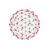 Μοριακό δικτυωτό πλέγμα υπό μορφή σφαίρας επίσης corel σύρετε το διάνυσμα απεικόνισης Στοκ Εικόνες