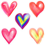 Μορφές καρδιών αγάπης Watercolor διανυσματική απεικόνιση