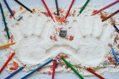 Μορφές χεριών στο αλεύρι  Στοκ εικόνες με δικαίωμα ελεύθερης χρήσης