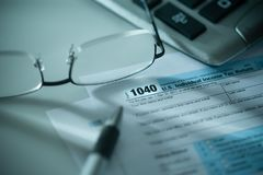 1040 μορφή αμερικανικού φόρου Στοκ Εικόνα