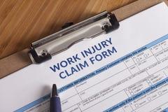 Μορφή αξίωσης τραυματισμών εργασίας Στοκ Εικόνες