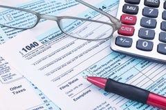 Μορφή 1040 για το φορολογικό έτος του 2014 Στοκ φωτογραφία με δικαίωμα ελεύθερης χρήσης