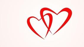 Μορφή ζεύγους να αγαπήσει τη μύγα καρδιών από κοινού άνδρας αγάπης φιλιών έννοιας στη γυναίκα Κόκκινες καρδιές που πετούν όπως τη απόθεμα βίντεο