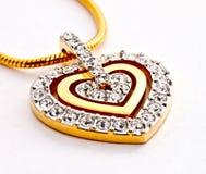 μορφή καρδιών διαμαντιών locket Στοκ Φωτογραφία