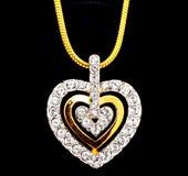 μορφή καρδιών διαμαντιών locket Στοκ φωτογραφία με δικαίωμα ελεύθερης χρήσης