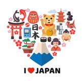 Μορφή καρδιών με τα εικονίδια της Ιαπωνίας Στοκ φωτογραφία με δικαίωμα ελεύθερης χρήσης