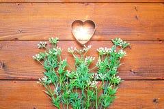 Μορφή καρδιών με τα μικρά άσπρα λουλούδια στο ξύλινο υπόβαθρο για την εποχιακή έννοια εορτασμού Στοκ φωτογραφία με δικαίωμα ελεύθερης χρήσης