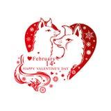 Μορφή καρδιών με snowflakes και το ζευγάρι των χαριτωμένων σκυλιών Στοκ Εικόνες