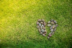 Μορφή καρδιών βράχου σε έναν πράσινο τομέα χλοών Στοκ Φωτογραφίες