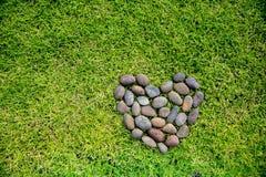 Μορφή καρδιών βράχου σε έναν πράσινο τομέα χλοών Στοκ Εικόνες