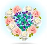 Μορφή καρδιών που γεμίζουν με τα λουλούδια Στοκ Εικόνα